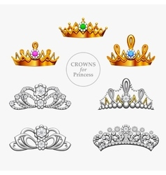 Seven crowns for a princess vector image vector image