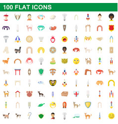 100 flat icons set vector image