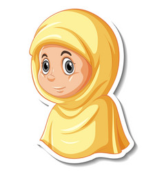 a sticker template with portrait muslim girl vector image