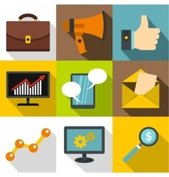 Advertising icons set flat style vector image