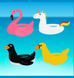 Animal pool float swimming ring ride vector