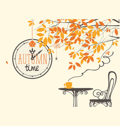 Autumn landscape with street cafe and clock vector