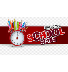 Back to school sale banner in red color vector