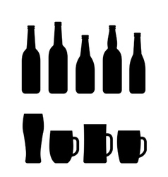 black beer bottle and mug set vector image