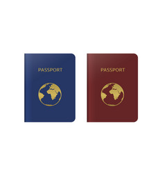 Blue and red passports vector