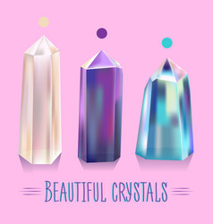 Bright beautiful shiny crystals vector