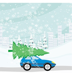 Car with a christmas tree on the roof vector image