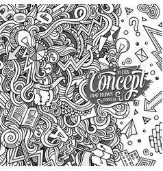 cartoon hand-drawn doodles concept vector image