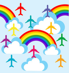 Cartoon sky with clouds rainbows and planes vector