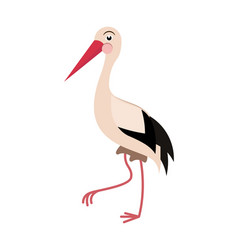 Cartoon stork in flat style for abc book vector