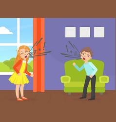 Children quarreling and swearing aggressive boy vector