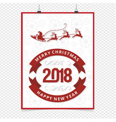 christmas card with red typographic and snow vector image