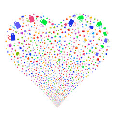 Coffee cup fireworks heart vector