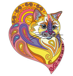Colorful ornamental cat 10 vector
