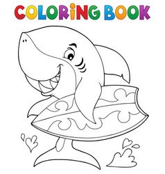 Coloring book surfer shark theme 1 vector