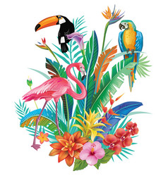 composition of tropical flowers and birds vector image