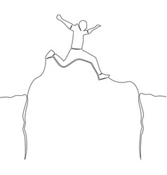 continuous one line man jumping over abyss vector image
