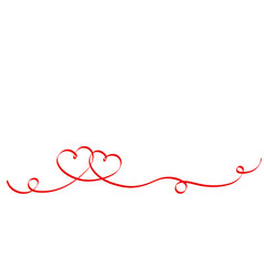 couple red ribbon hearts isolated on white vector image