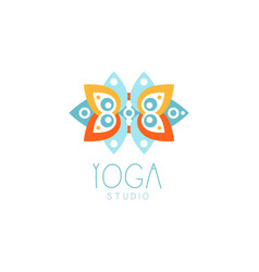 creative floral ornament yoga logo vector image