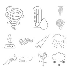 Different weather outline icons in set collection vector