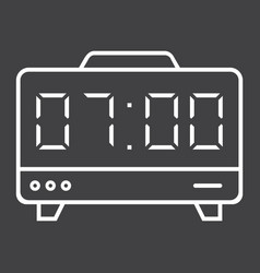 Digital clock line icon electronic and alarm vector