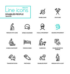 Disabled people - line design style icons set vector