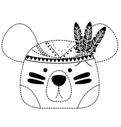Dotted shape cute bear head animal with feathers vector