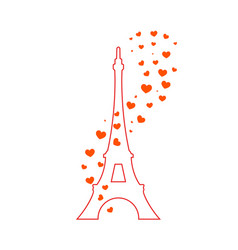 Eiffel tower and red hearts vector
