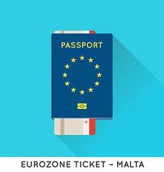Eurozone Europe Passport with tickets Air Tickets vector