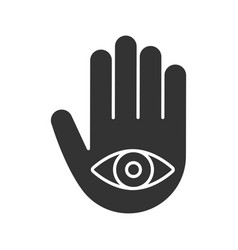 Eye in hand glyph icon vector
