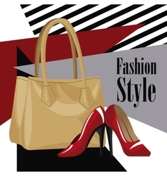 fashion style accessory wo purse red heel vector image