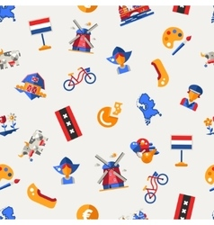 flat design holland travel icons infographics vector image