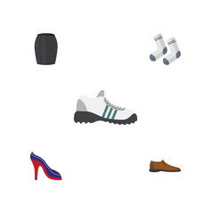 Flat icon garment set of foot textile male vector