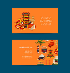 Flat style china elements business card vector