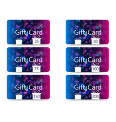 gift card set chaotic particles pattern vector image