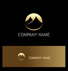 gold mountain icon logo vector image
