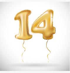 Golden 14 number fourteen metallic balloon party vector