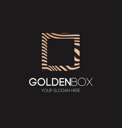 golden box logo abstract line style vector image