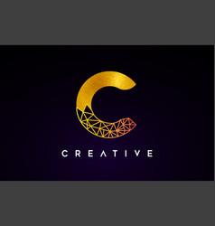 Golden gold letter c beauty logo c letter design vector