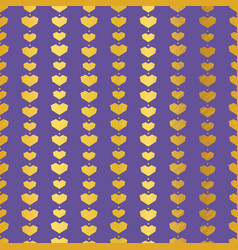 golden purple geometric hearts seamless pattern vector image