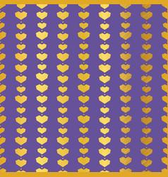 Golden purple geometric hearts seamless pattern vector