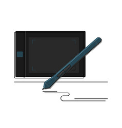 graphic tablet and and stylus detailed icon vector image