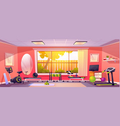 Gym at home empty room with sports equipment vector