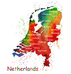 Hand drawn watercolor map netherlands vector