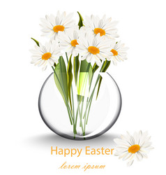 happy easter card with chamomile flowers bouquet vector image