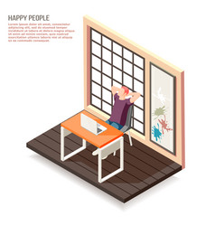 happy people isometric composition vector image