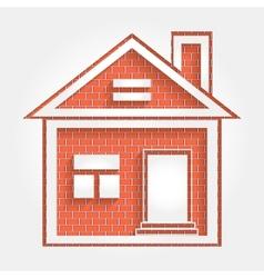 House on brick wall vector