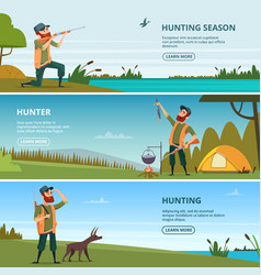 hunters on hunt banners cartoon of vector image