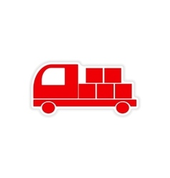 Icon sticker realistic design on paper car cargo vector