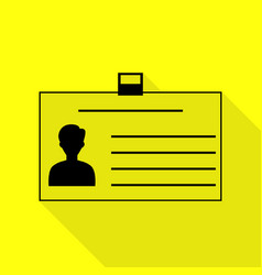 Identification card sign black icon with flat vector